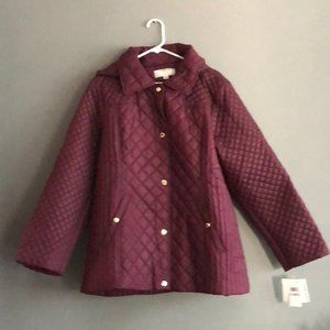 Anne Klein Quilted Detachable Hood Coat NWT